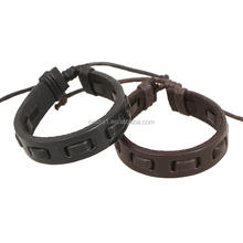 Factory Wholesale Black and Brown Color Leather Rope Braclet Handmade Leather Bracelet PK-0157