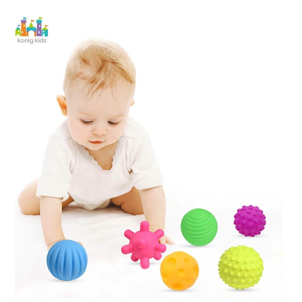 Konig Kids Amazon Hot Sale Sensory Hand Grabbing Textured Multi Ball Set Colorful Baby Tactile Balls Toys