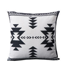 Farmhouse Geometric pattern Black and White Wave Throw Pillow Covers Cotton Linen Home Decor cushion