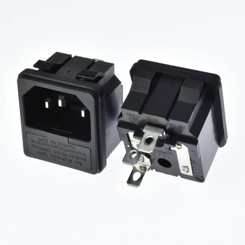 IEC 60320 C14 power socket AC 3pins male 10A250V with fused hold Snap-in outlet Cabinet, rice cooker, power supply