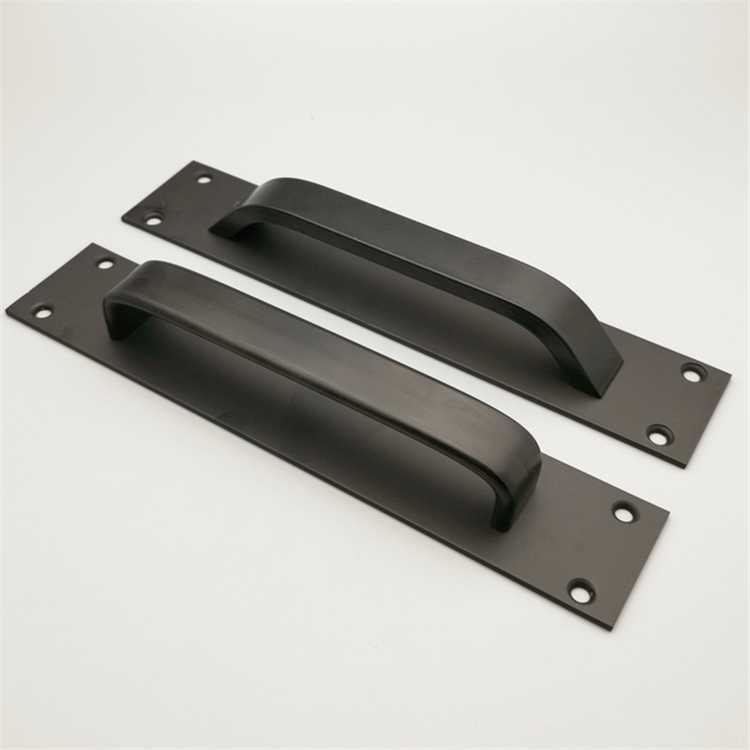 CQ Items 12 Matte Black Steel Sliding Barn Door Handle with Flush Back Plate