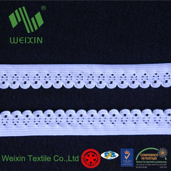 14mm White Lingerie Woven Scalloped Edging Sewing Elastic Webbing for underwear