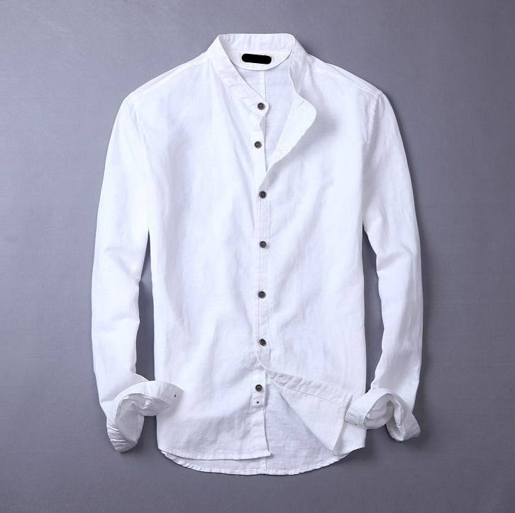men pant soft solid white linen long sleeve shirt new style