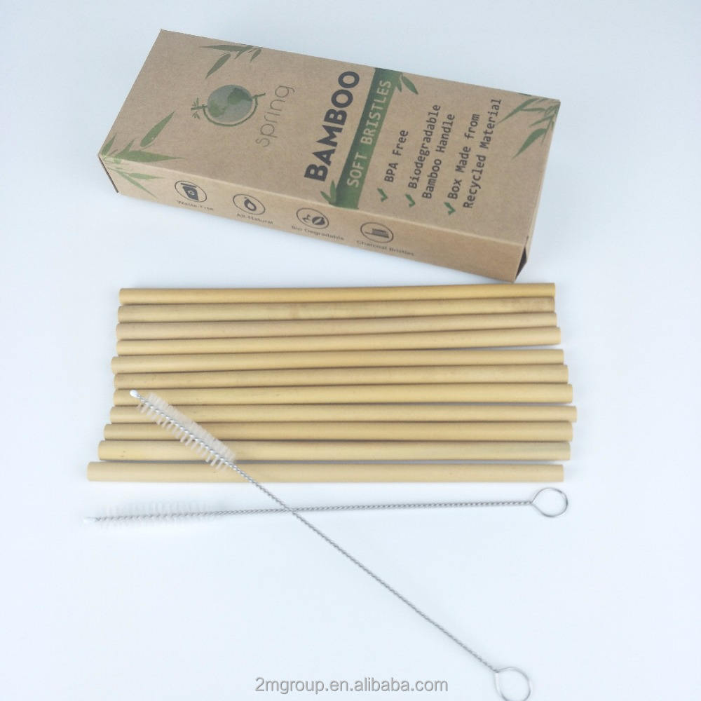 Tropical bamboo reusable drinking straw,set of 12