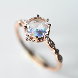 925 Sterling Silver Round shape 8mm Cầu Vồng Moonstone Engagement Ring Rose Gold Nhẫn Moonstone