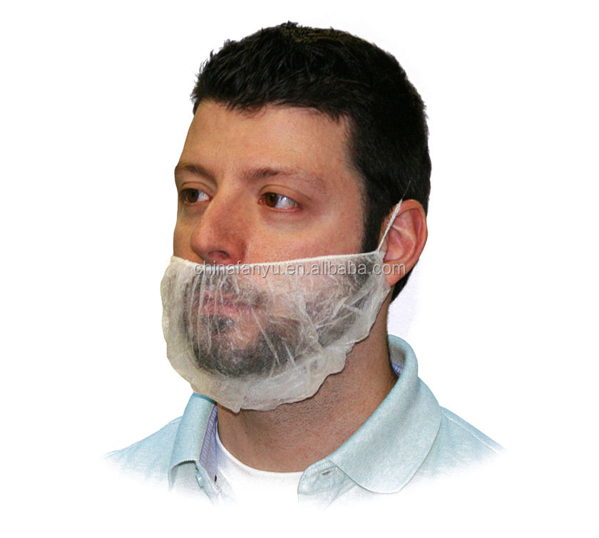disposable non-woven beard cover with white color