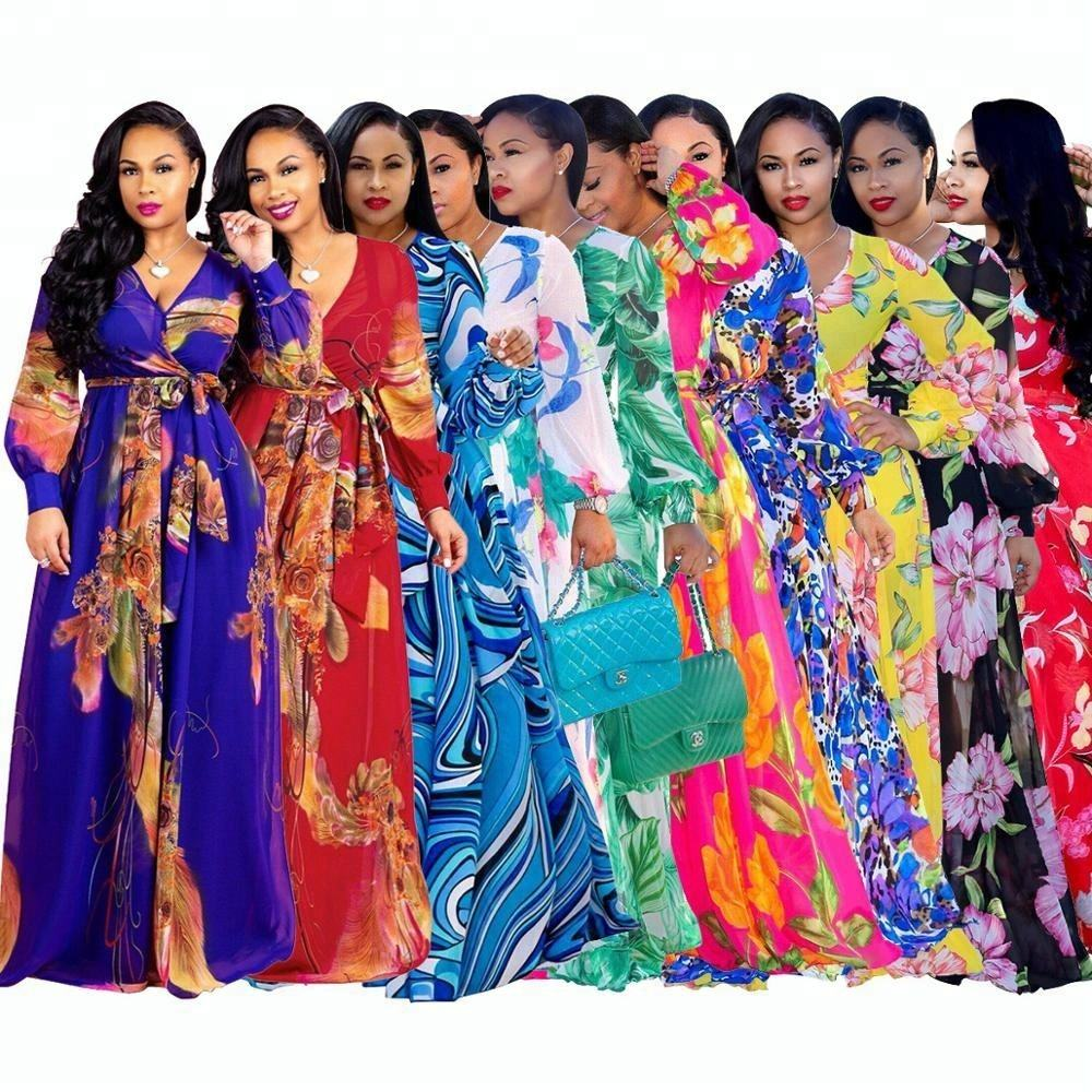 CY-001 factory direct Wholesale Bohemia Women Casual Dress Plus Size african Style ankara clothings