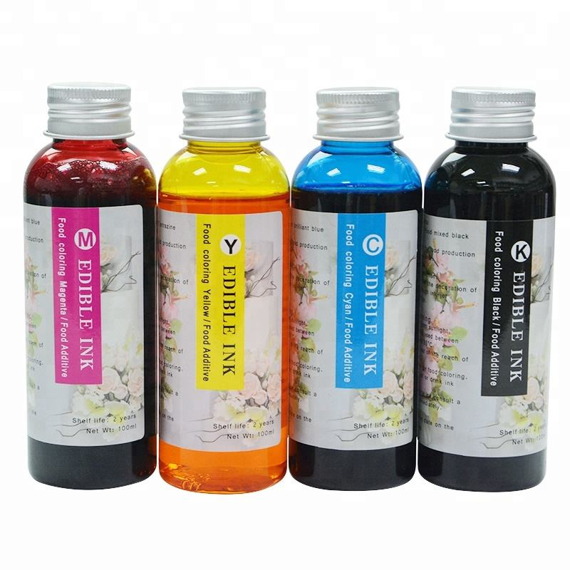 100ml each Bottle 4 Colors Refill Edible Ink For HP 803 Coffee Cake Printer