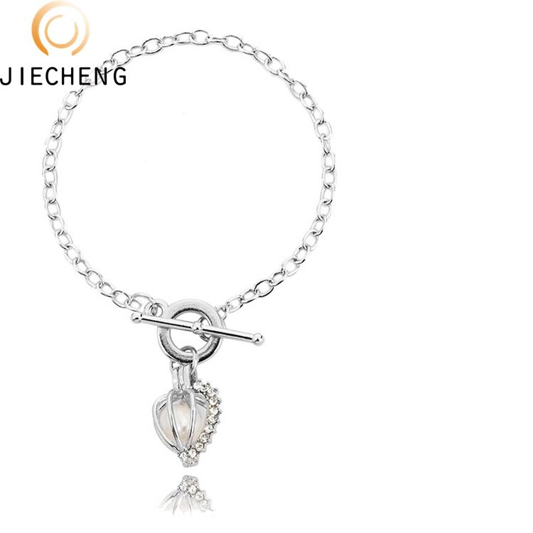2018 Wholesale silver plated pearl jewelry designs cage bracelet fashion freshwater pearl bracelet