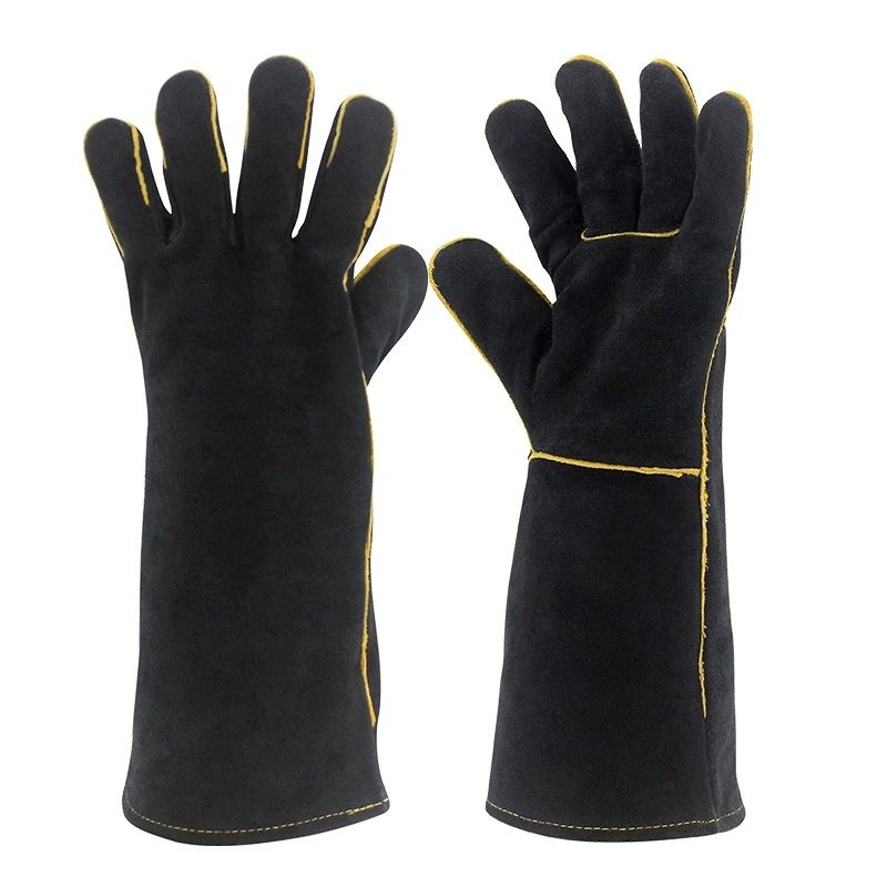 Mens Leather Welding Gloves Long Welder Gloves with Thicken Cotton Lined Extreme Heat Resistant Work Tool Gloves DHST07 ZhuoLang
