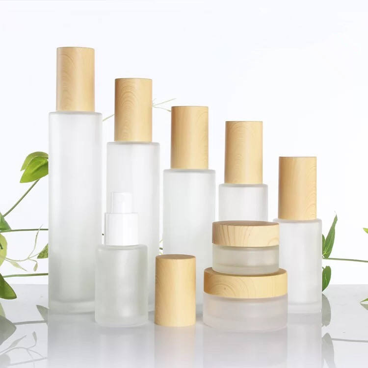 20ml 30ml 40ml 60ml 80ml 100ml 120ml 20g 30g50g wood grain cosmetics glass bottle travel set