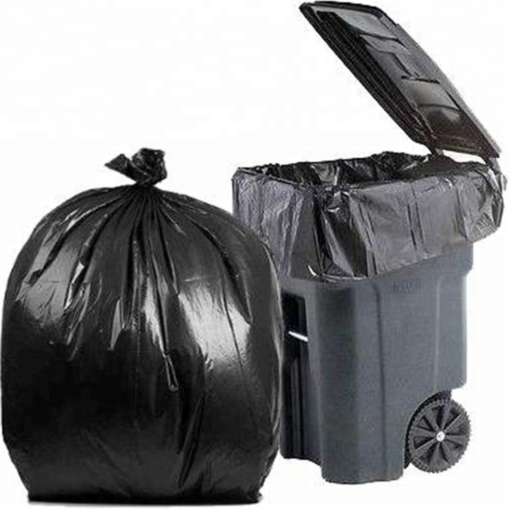 65 55 Gallon LDPE Large Capacity Contraction Garbage Black Trash Bag