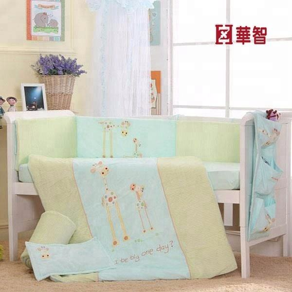 Baby bumper set 100%cotton european luxury soft baby cot crib bedding sets with bumper