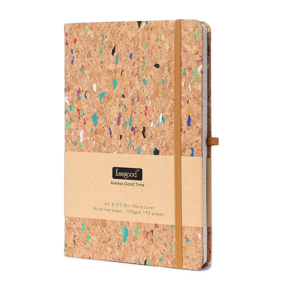 Customised Wood Color Paper Notebooks and Journals Writing Journal with Pen loop Hard Cover Writing Notebook with Paper Pocket