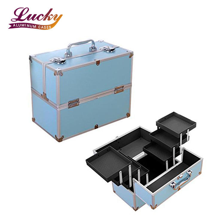Blue Wholesale portable Aluminum Cosmetic Makeup Train Case with Shoulder Strap and Locks