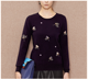 100% cashmere sweater round neck pullover sweater embroider sweater