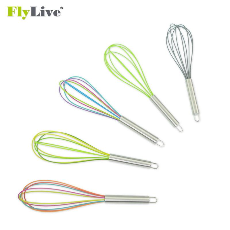 Non-Stick Rainbow 실리콘 Egg Whisk 와 Stainless Steel Handle