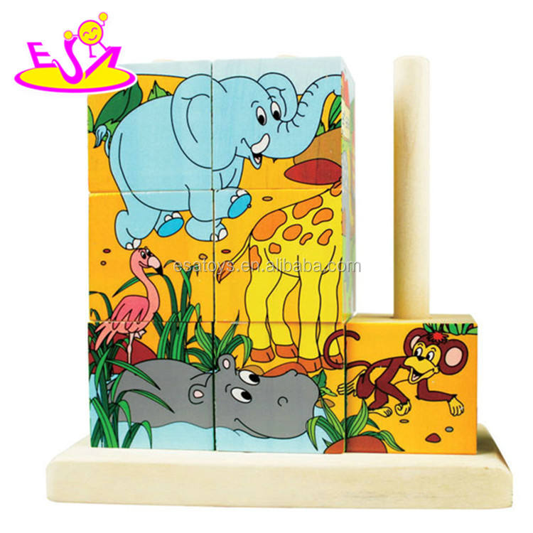 best sale kids wooden cube puzzle with customize W14F023