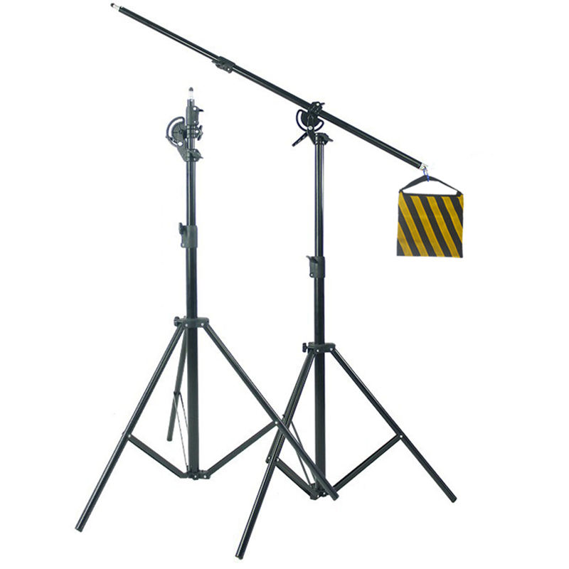 2 in 1 professional video photography flexible tripod light stand with overhead booms arm for studio shooting