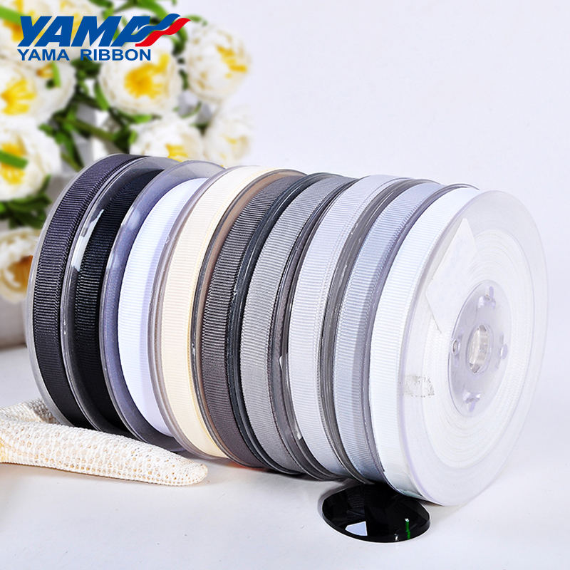 YAMA large stocked supply personalized solid colors white grosgrain ribbon