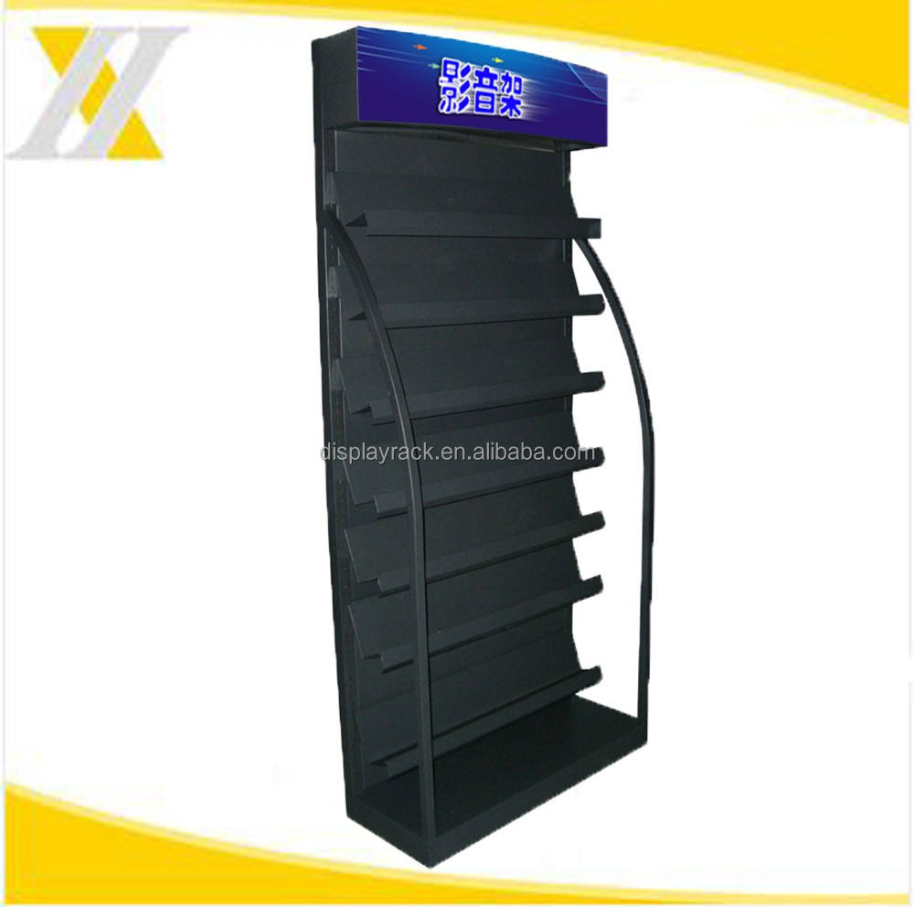 HYX-A015 Single Side CD Display Rack , Metal Seven-Layer CD DVD Display Stand , Powder Coated CD Display Shelf for Sales