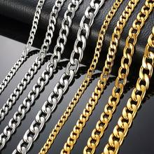 Silver Gold Filled Solid Necklace Curb Chains Link Men Choker Stainless Steel Male Female Accessories