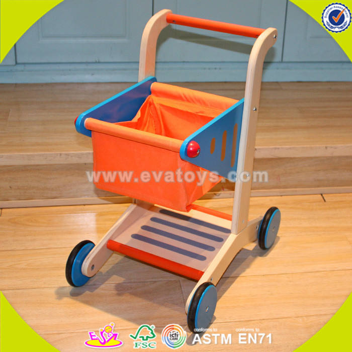 wholesale supermarket pretend toys wooden kids toy shopping trolley W16E016-S