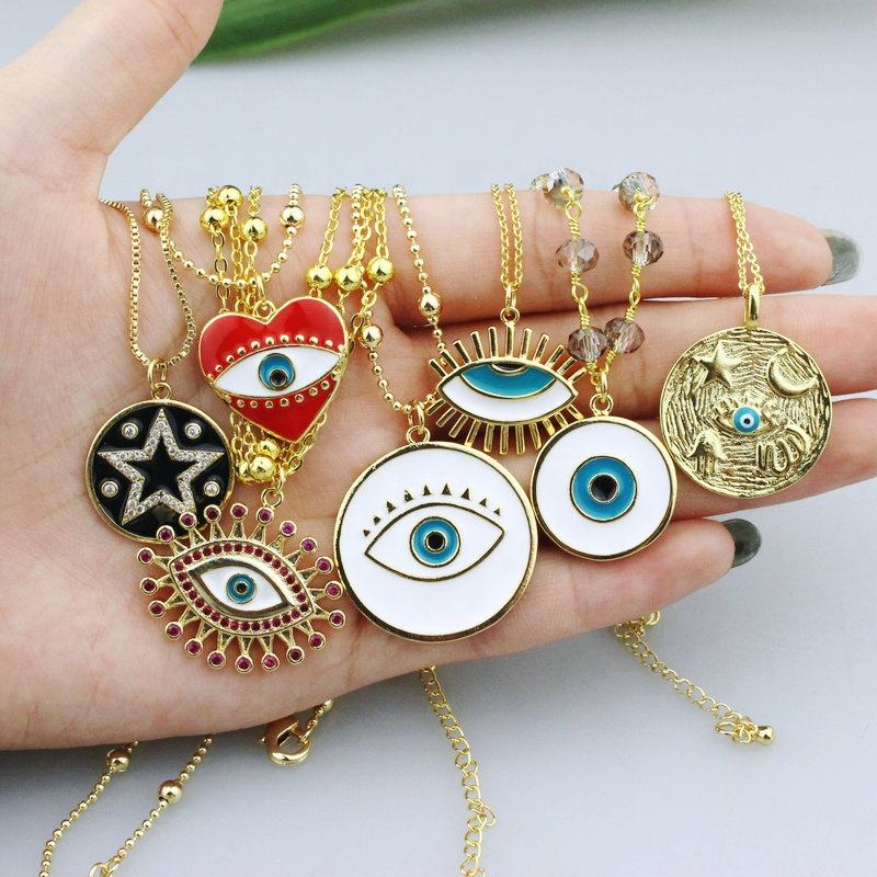 CH-CKN0136 fashion enamel pendant with fine chain necklace,good plating enamel charm necklace,handmade jewelry wholesale