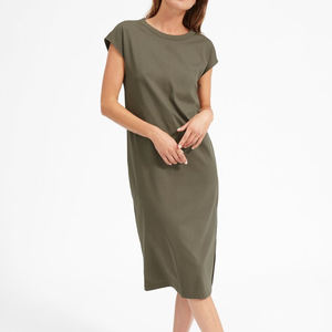 ladies blank t-shirt dress side-slit maxi t shirt dress plain cotton dress casual