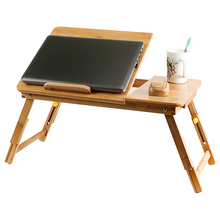 Custom wholesale lazy laptop desk cheap price adjustable folding laptop table bamboo wooden laptop holder bed