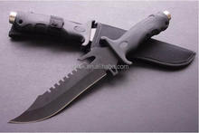 OEM fixed blade black free sample hunting knife with nylon sheath