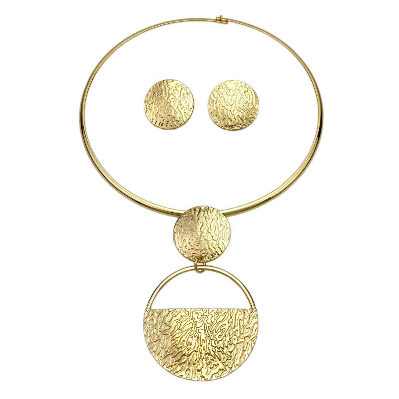 Big Fan Geometric Metal Gold Plated Jewelry Sets For Women Alloy Choker Necklaces Earrings Statement African Jewelry Sets