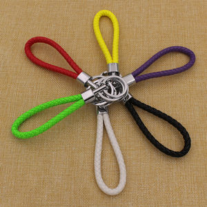 Wholesale simple fashion braided pu leather cord car keychain