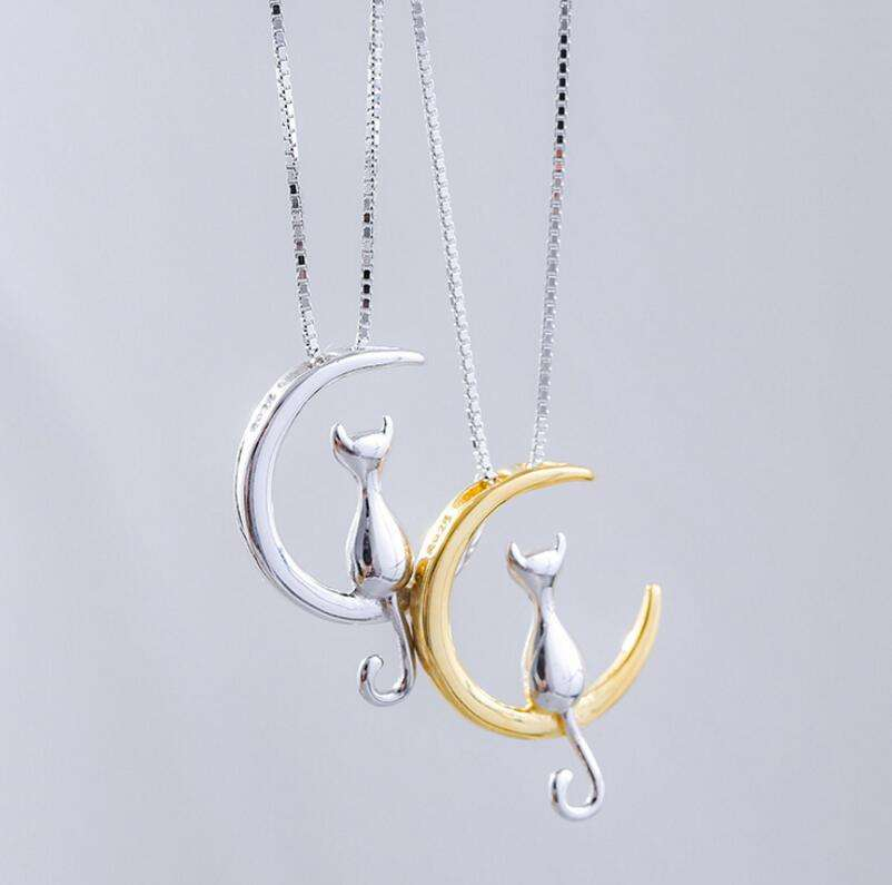 Fashion Jewellery Women Silver Moon Cat Necklace
