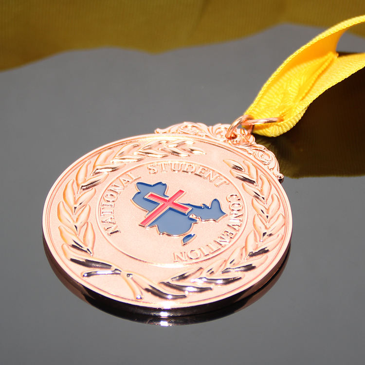 OEM Custom Student Competition Awarding Medals Rose Copper Color Plated 3D Enamel Laser Award Medal