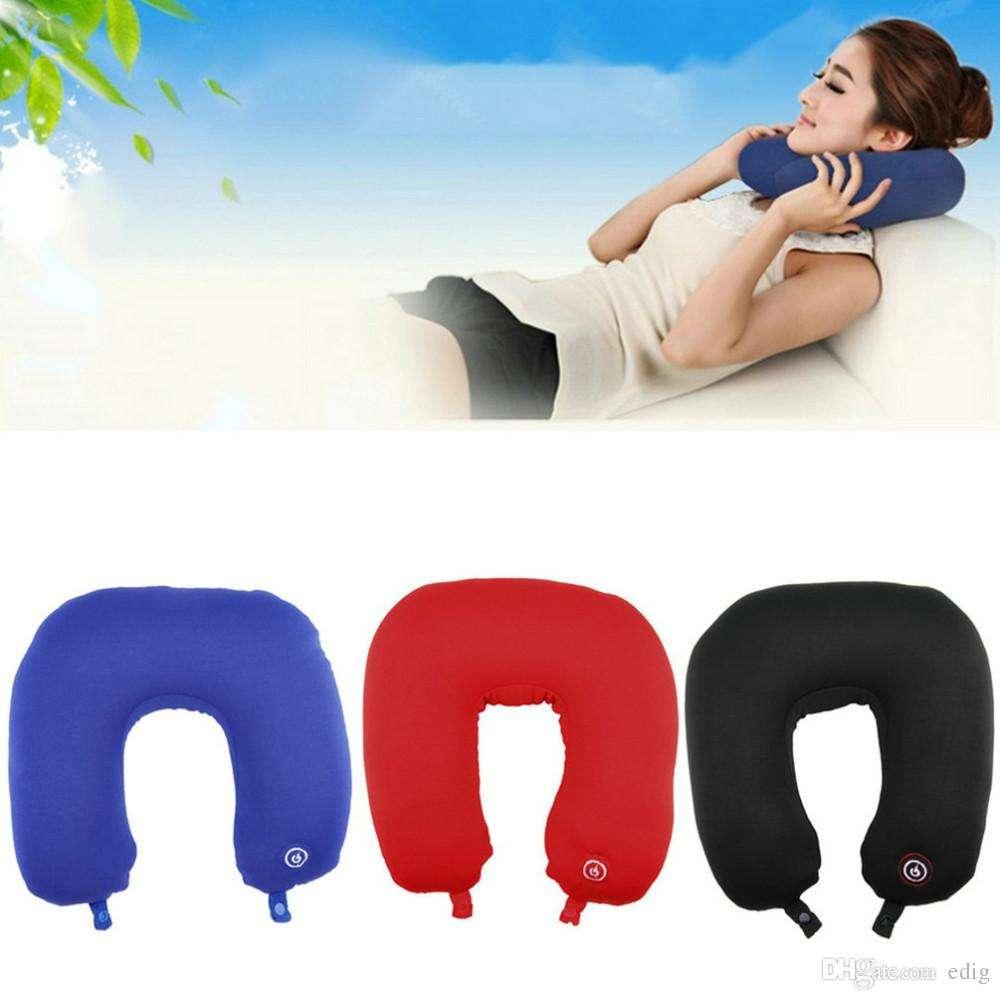 U Shape Travel Pillow Neck Massage Microbead Battery Operated Vibrating~LY