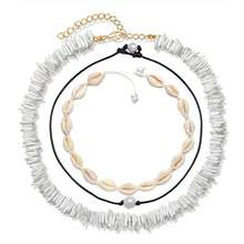 Shangjie Puka Shell Necklace for Women Boho Tropical Hawaiian Beach Puka Chips Shell Surfer Choker Necklace Jewelry Mens Womens