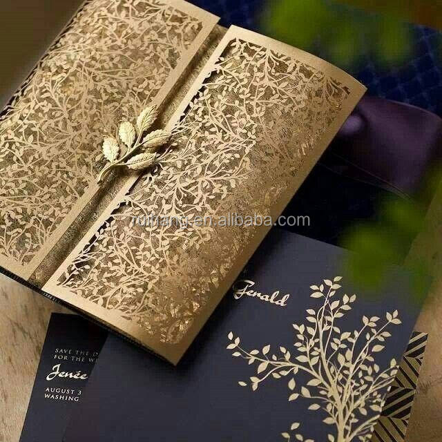 2018 Hot sale high-end artistic royal brown gatefold leaves laser carve wedding invitations
