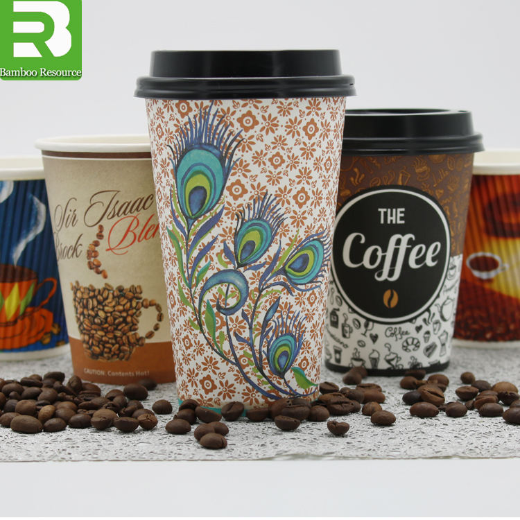 Custom logo Printed Disposable biodegradable Single Wall Paper Coffee Cup with Lids