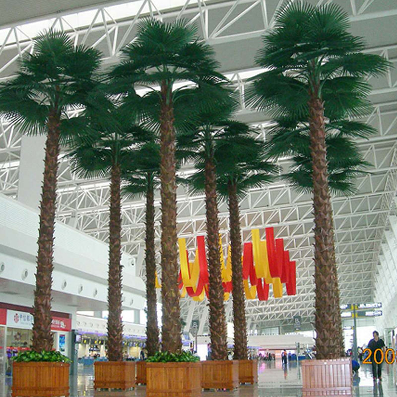 factory supplier large plastic preserved palm tree with artificial palm fronds for airport, hotel