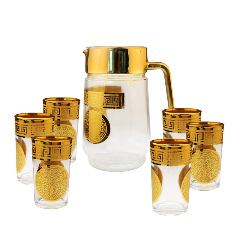 Golden Glass Lucky Rich Pattern Teapot Set