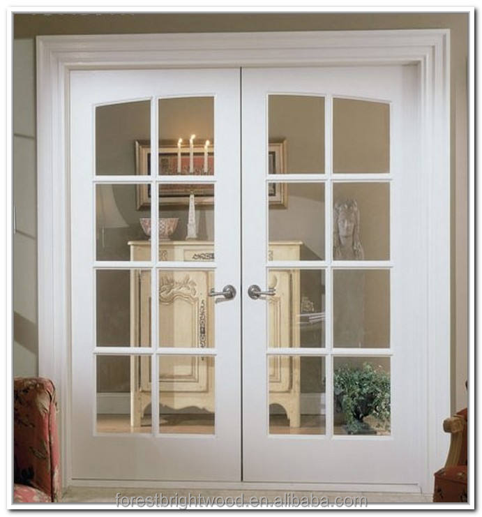 White Color Interior Wood Double French Doors