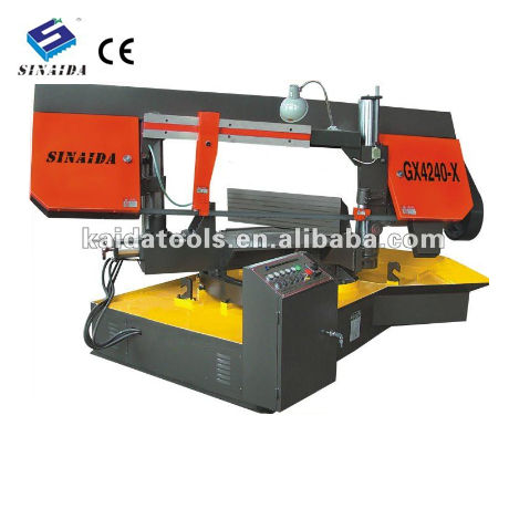 Semi-auto angle cut band saw machine 45 degree angle metal cutting hydraulic
