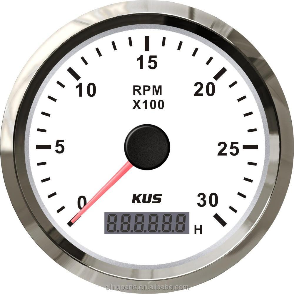 KUS 85mm Auto Jauge Électrique Diesel Compte-Tours Jauge 0-3000 <span class=keywords><strong>RPM</strong></span> 12 V/24 V Avec <span class=keywords><strong>R</strong></span>étro-Éclairage