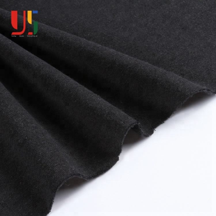 Black plain poly cotton brushed french terry knitted fabric for hoodie