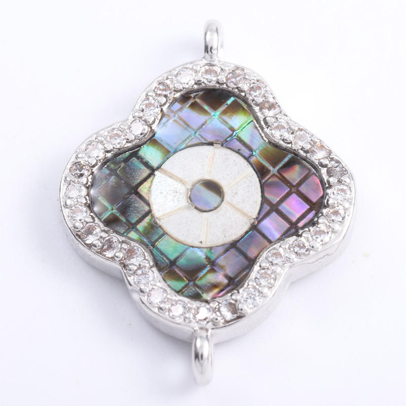 Wholesale Women Turkey Eye Jewelry CZ Flower Abalone Pendant With 925 Sterling Silver