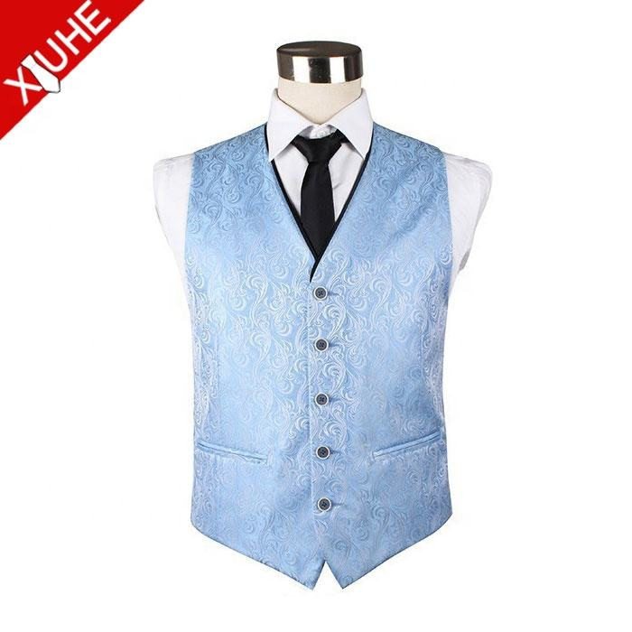 100% Polyester 짠 Vest Fashion Blue Paisley 허리 Coat 대 한 Men