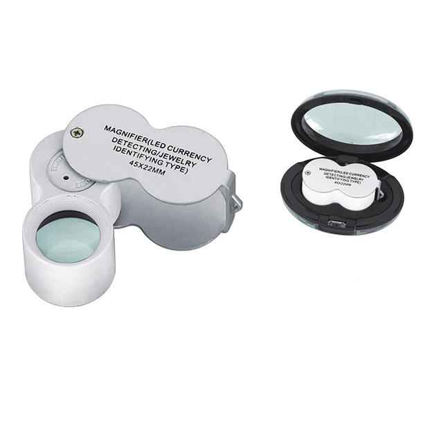 30X 60X Withdrawable Type Jewelers Loupe Magnifier with LED /& UV Lights Gift