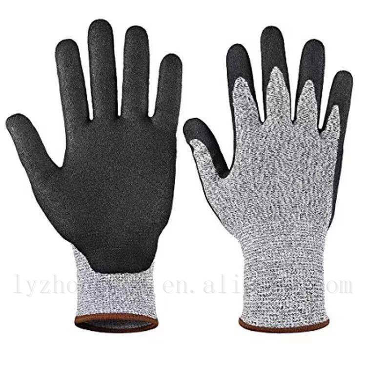 Anti slip latex coated 5 level cut resistant gloves