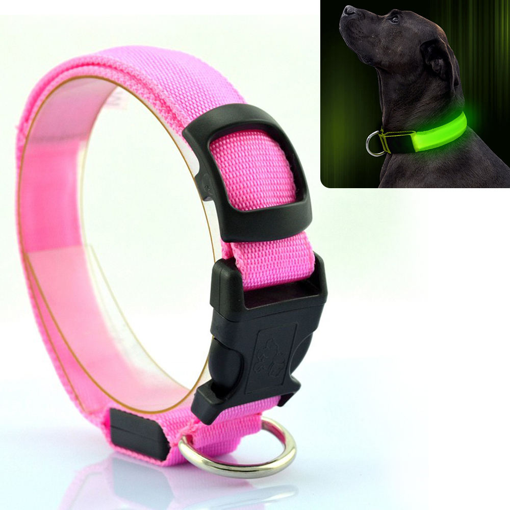 Safety Pet Flashing LED Dog Collar Lights Nylon Electric Training Collars Products for Dogs light up dog collar 8 Colors 3 Sizes
